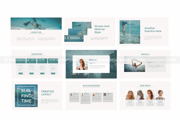 沙滩娱乐项目介绍PPT模板演示文稿模板