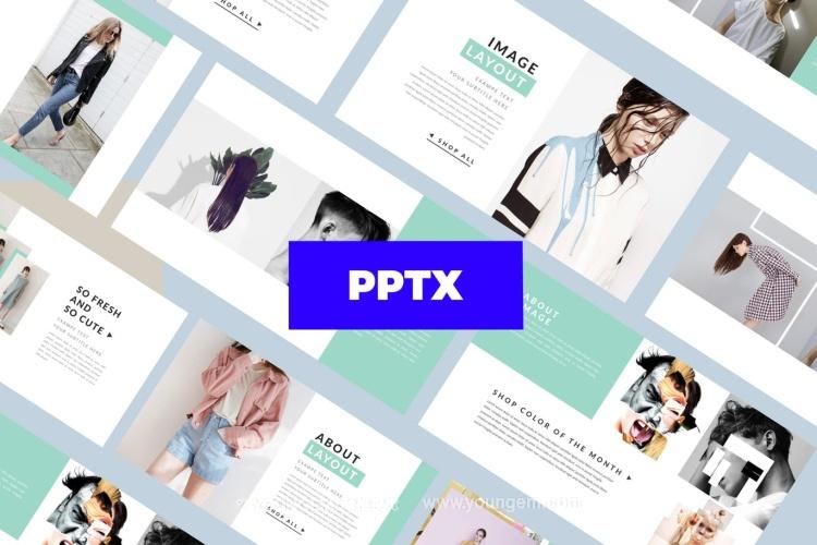 简约的时装展示PPT模板演示文稿图片