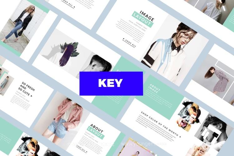 简约的时装展示PPT模板演示文稿(key格式)图片
