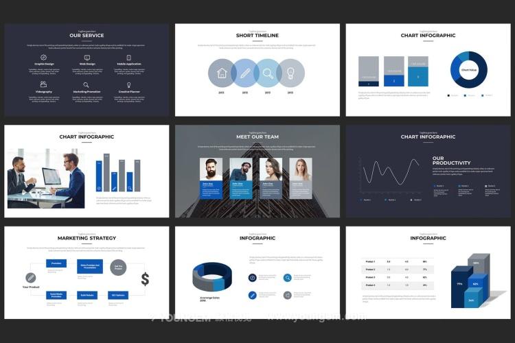 业务数据分析信息图表PPT模板演示文稿模板