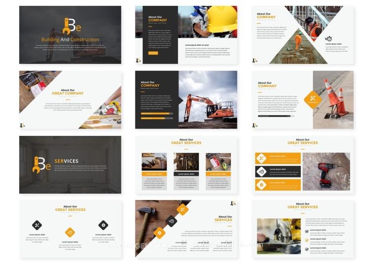 建筑工地施工项目展示PPT模板演示文稿素材