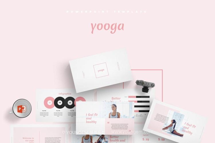 健身瑜伽项目展示PPT模板演示文稿图片