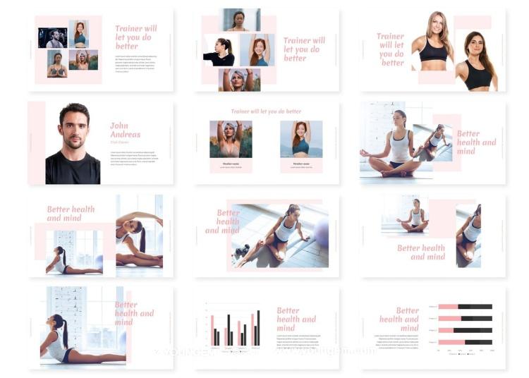 健身瑜伽项目展示PPT模板演示文稿模板
