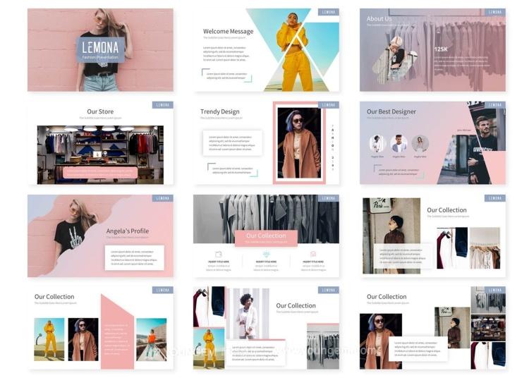 时装作品展示商业PPT模板演示文稿素材