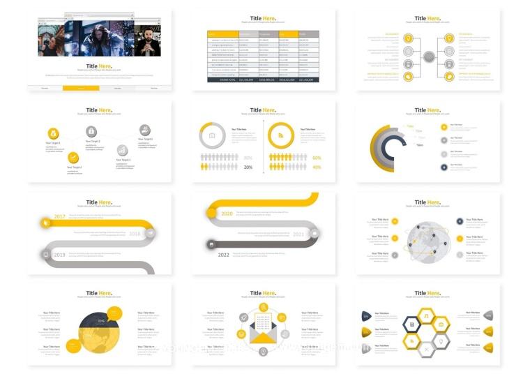 信息图表项目汇报PPT模板演示文稿key模板