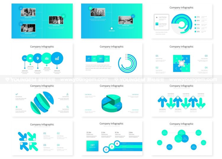 公司商业分析信息图表PPT模板演示文稿key模板