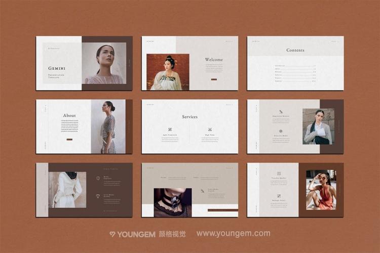 褐色摄影作品展览展示PPT模板演示文稿(key格式)模板