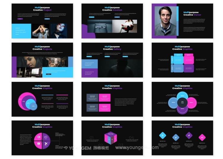 项目信息图表展示商业PPT模板演示文稿模板