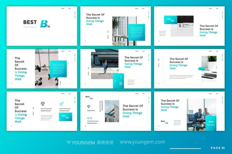 多用途项目介绍商业PPT模板演示文稿(key格式)素材