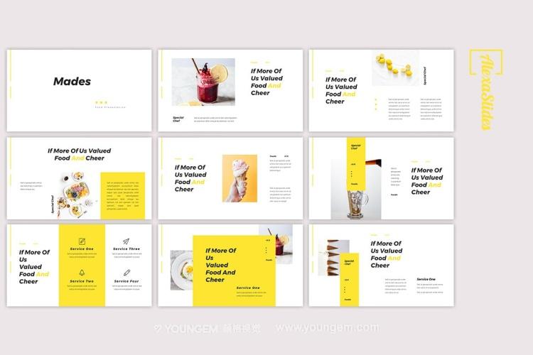 创意简洁食物主题PPT模板演示文稿(key格式)素材