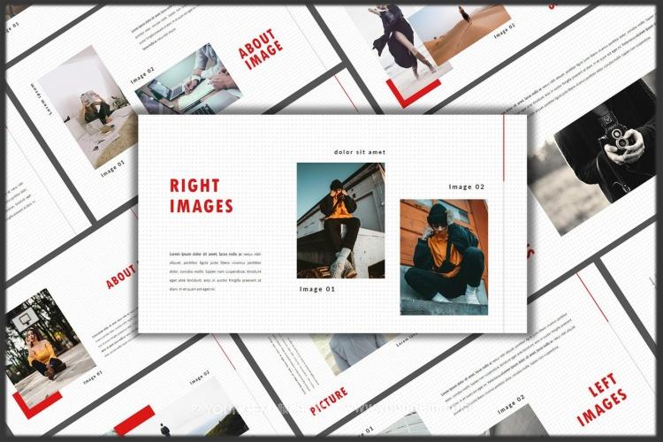 摄影插画作品展示商业PPT模板演示文稿素材