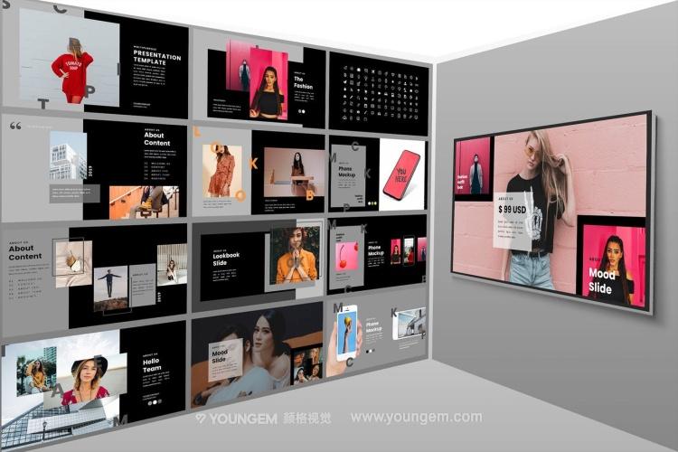 时装摄影作品展示PPT模板演示文稿(key格式)素材