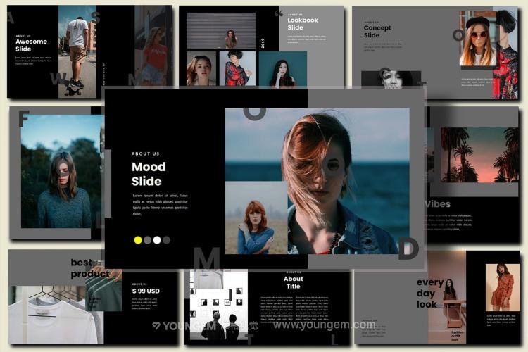 时装摄影作品展示PPT模板演示文稿(key格式)模板