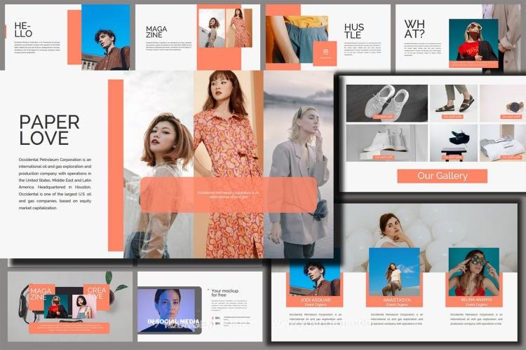 摄影插画设计作品展示PPT模板演示文稿素材