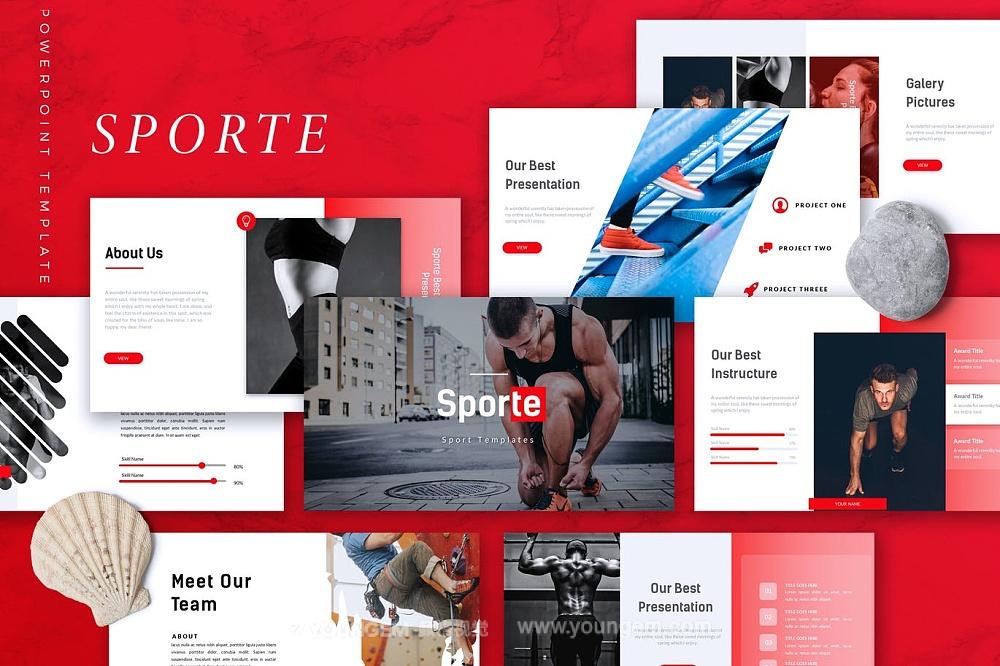 健身运动商店展示商业PPT模板演示文稿图片