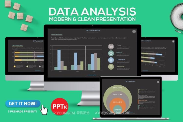 数据分析信息图表PPT模板演示文稿(key格式)图片
