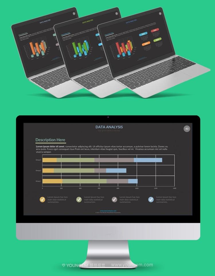 数据分析信息图表PPT模板演示文稿(key格式)素材