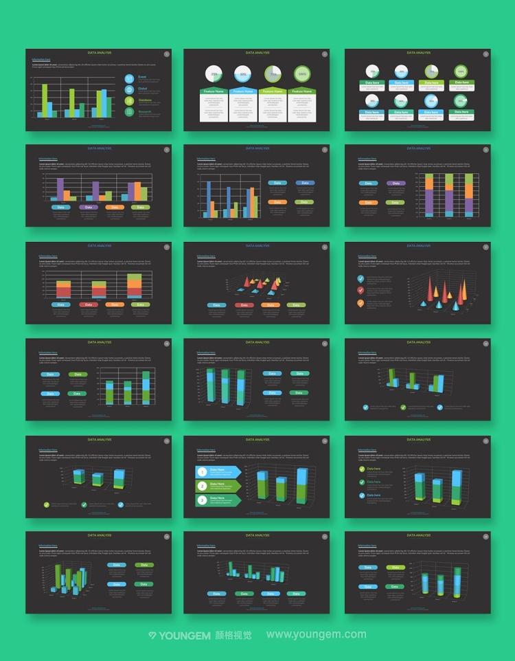 数据分析信息图表PPT模板演示文稿(key格式)模板