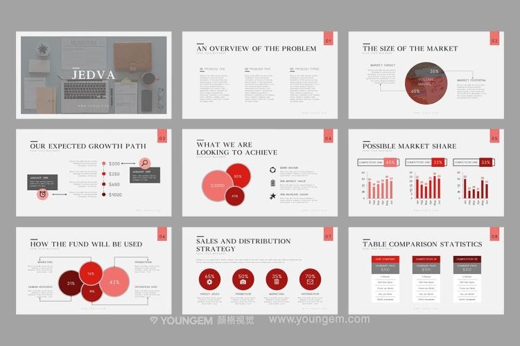 信息数据图表商务PPT模板演示文稿图片