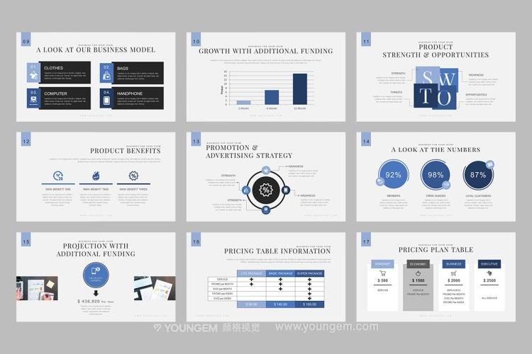 60张多用途信息图表商务PPT模板演示文稿素材