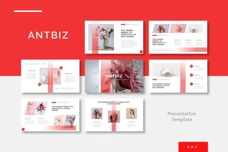 红色项目数据图表展示商业PPT模板演示文稿图片