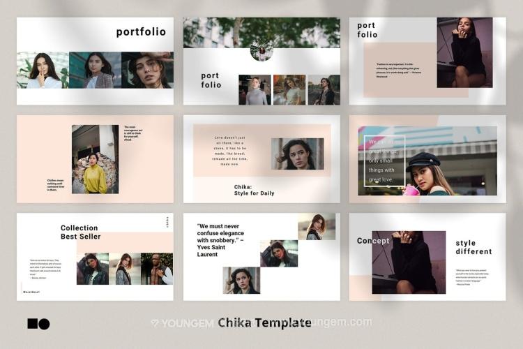 时装设计展示PPT模板演示文稿(key格式)模板