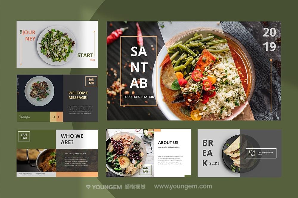 餐厅美食主题PPT模板演示文稿key素材