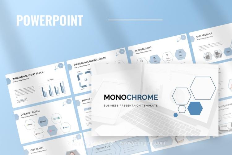简洁多用途项目展示商业PPT模板演示文稿图片