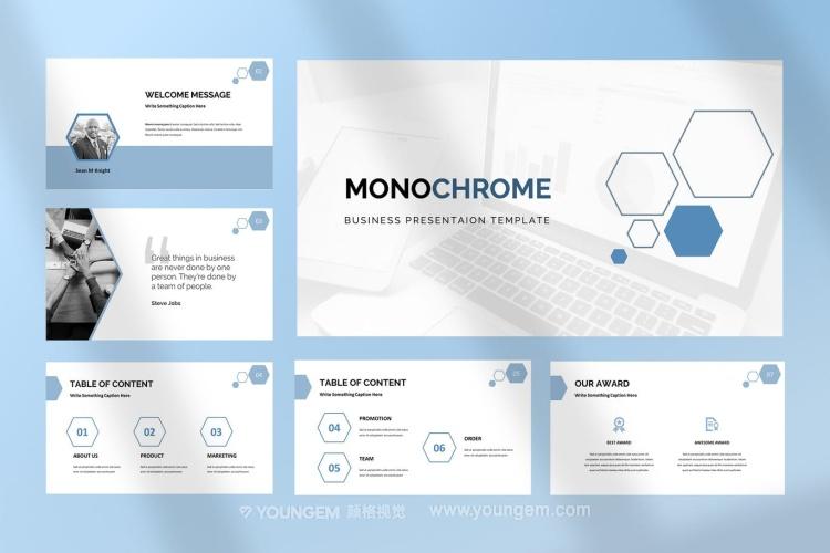 简洁多用途项目展示商业PPT模板演示文稿素材