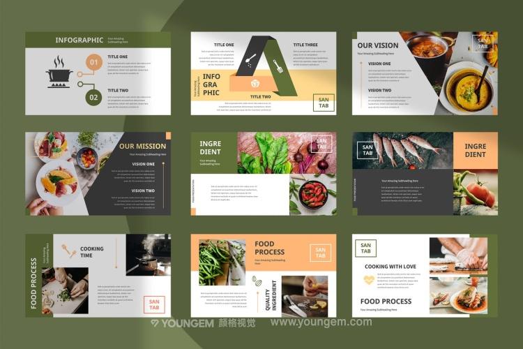 餐厅美食主题PPT模板演示文稿模板