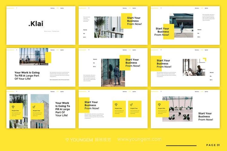 黄色公司商业投资项目展示商业PPT模板演示文稿(key格式)素材