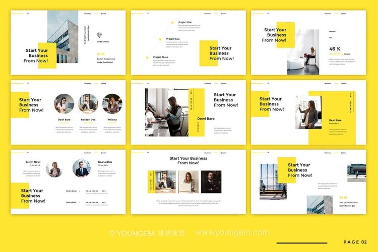黄色公司商业投资项目展示商业PPT模板演示文稿模板