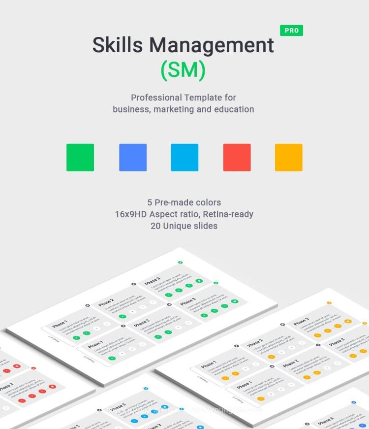 5种配色多功能数据图表PPT模板演示文稿素材