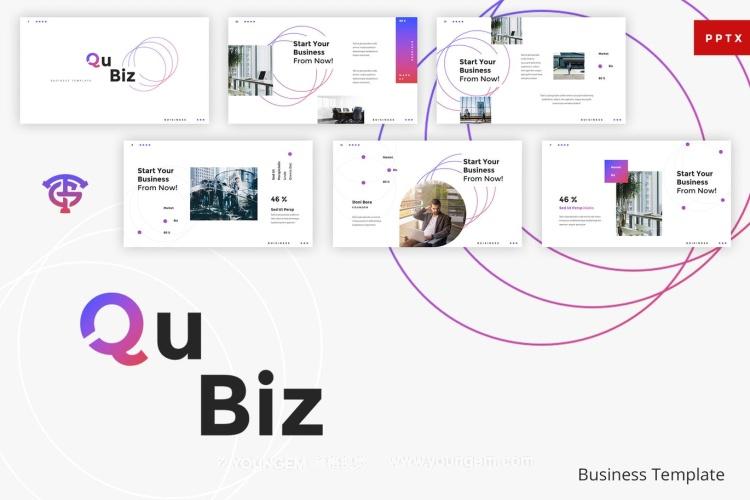 简洁的信息图表商业PPT模板演示文稿图片