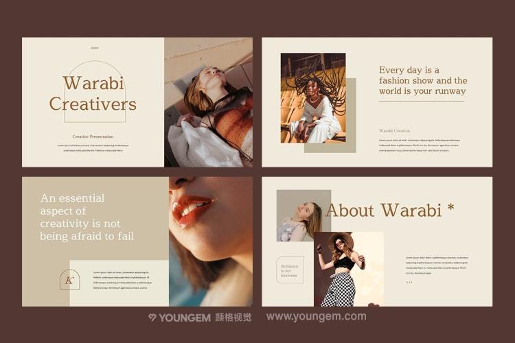 时尚女模造型宣传ppt模板版式设计_作品展览展示演示文稿下载素材