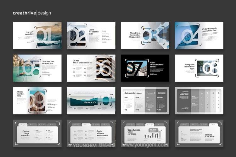 300张高清简洁优雅创意作品集白色商业ppt模板下载模板