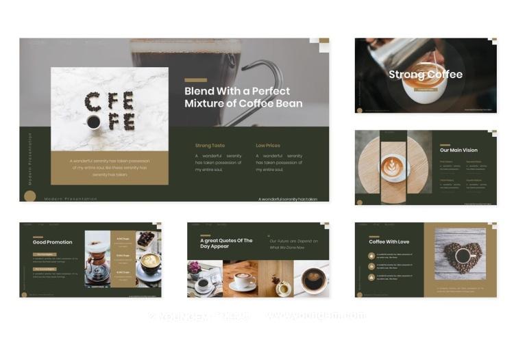 咖啡店主题西餐厅文化介绍产品展示介绍ppt模板素材