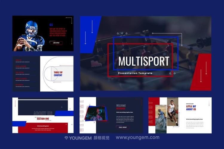 30+高清体育竞技项目主体简报展示介绍商务ppt模板素材