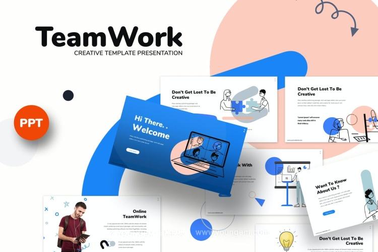 30张蓝色商务ppt模板_团队合作SWOT分析业务介绍调研幻灯片图片