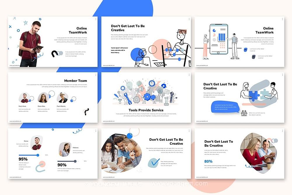 30张蓝色商务ppt模板_团队合作SWOT分析业务介绍调研幻灯片素材