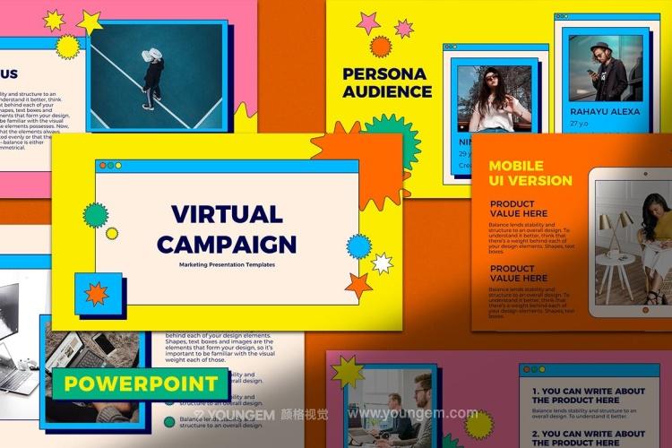 虚拟卡通风格ppt模板_市场营销时尚ppt模板下载图片