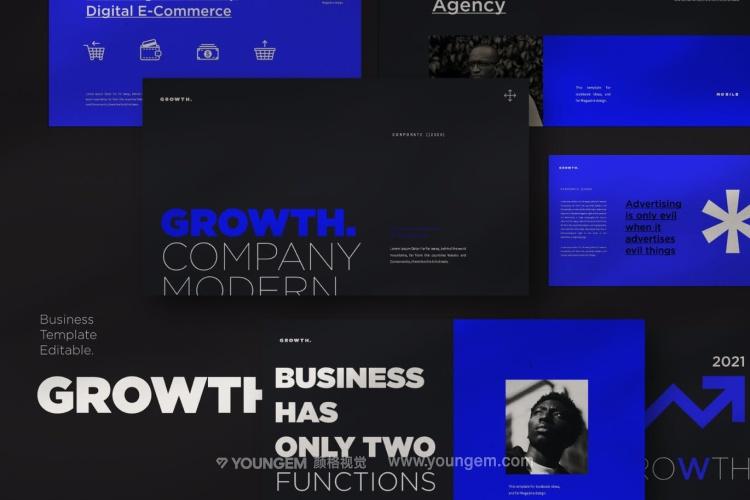 企业年度总结报告深蓝暗色调商务ppt模板免费下载图片