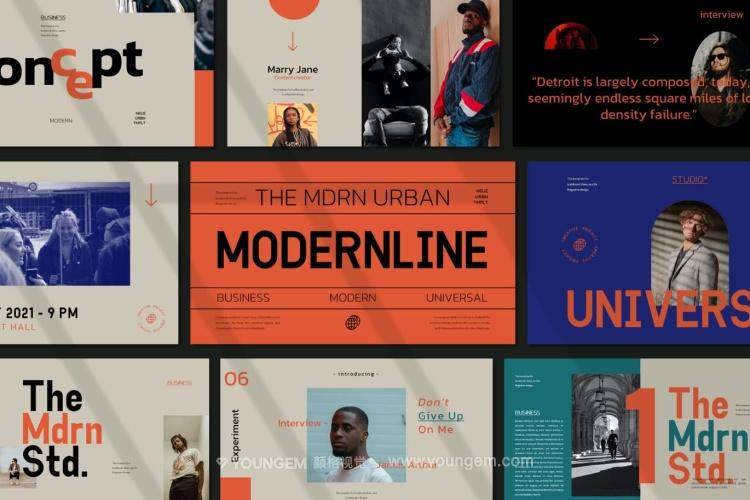 现代时尚作品展示极简ppt模板免费下载图片