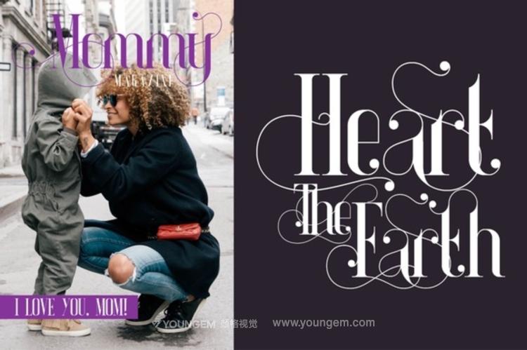 浪漫的书名杂志包装装饰免费英文字体下载素材