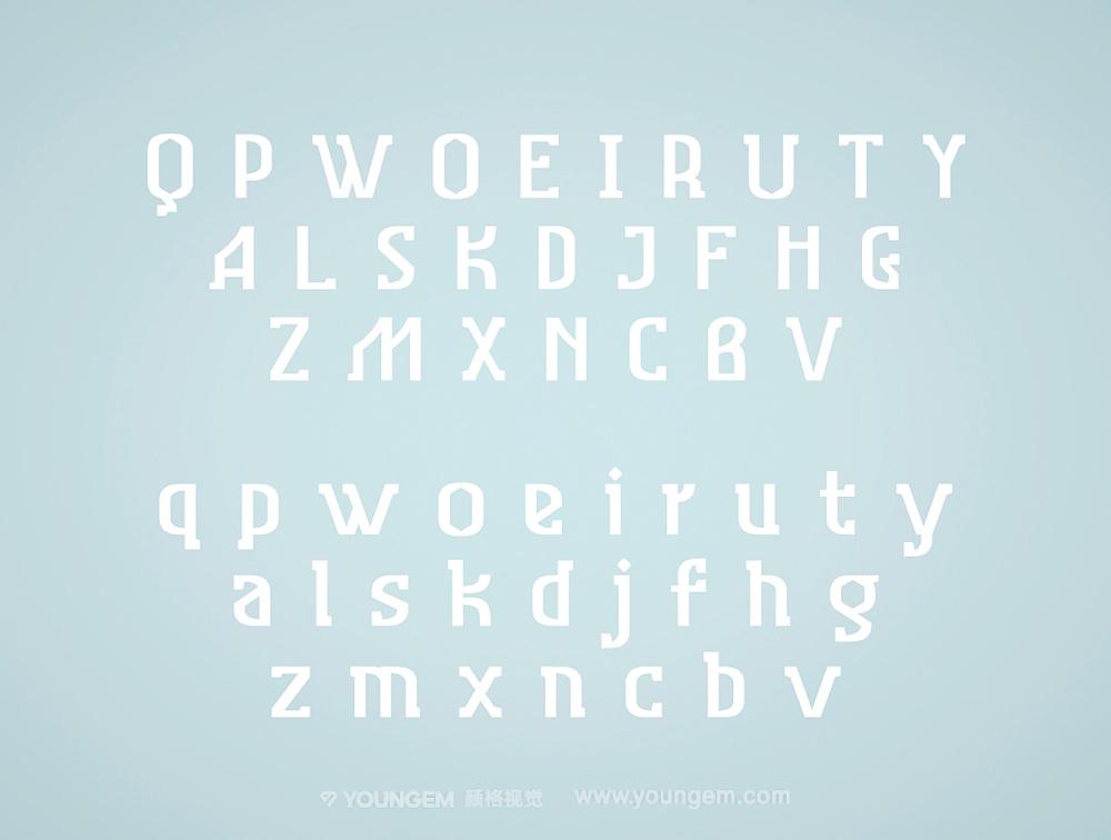 北欧风格的衬线英文字体设计模板