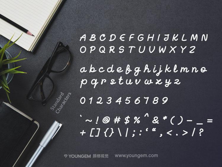 体恤食品包装签名连体手写英文字体设计素材