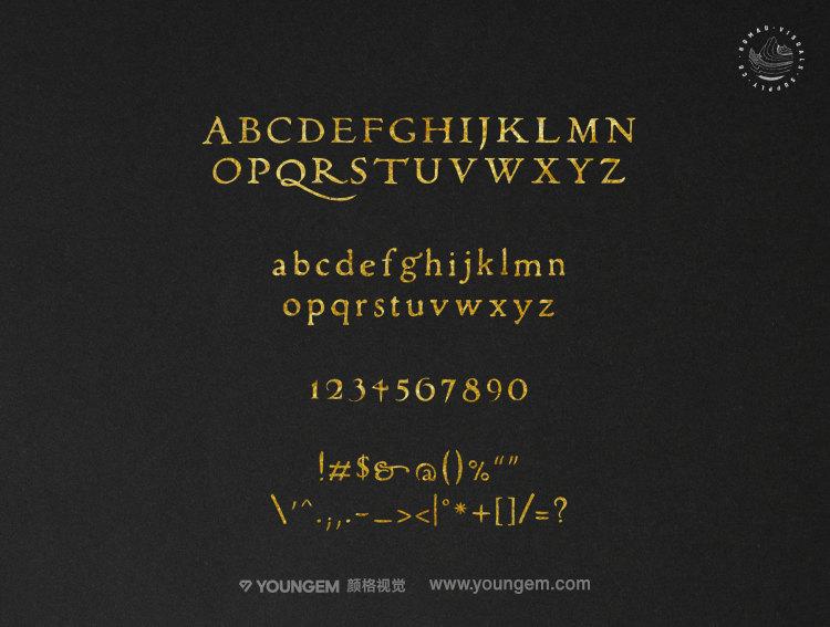 复古的信件邀请函衬线英文字体设计模板