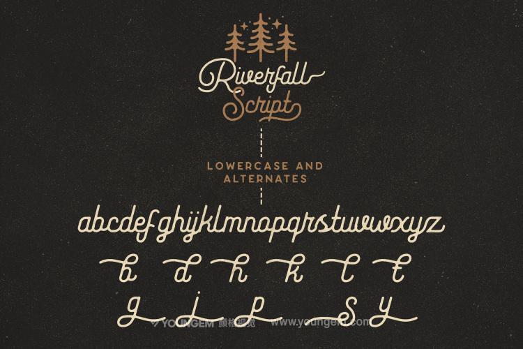 复古商品logo设计手写英文字体下载素材