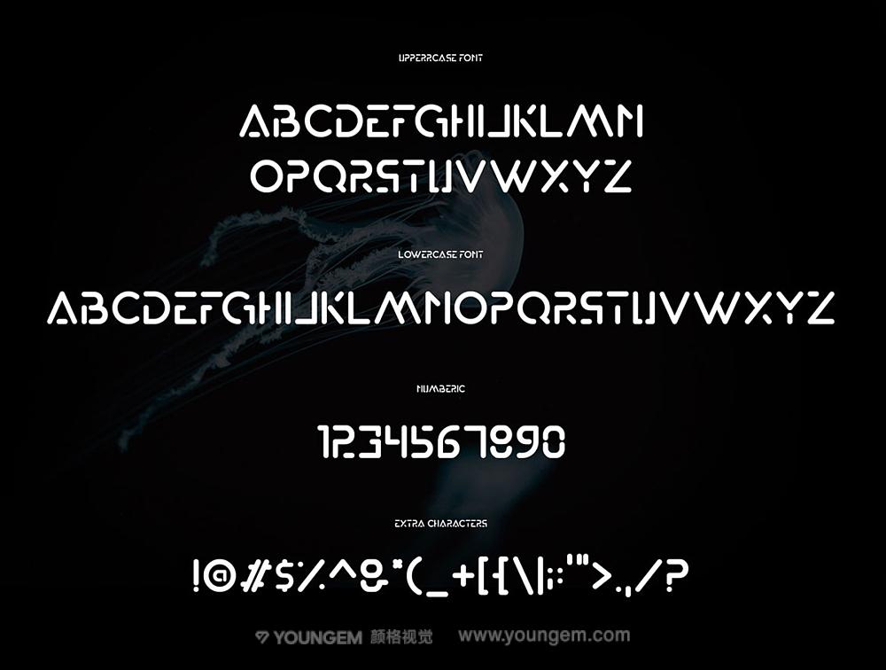 科幻电影海报封面字母无衬线英文字体下载模板
