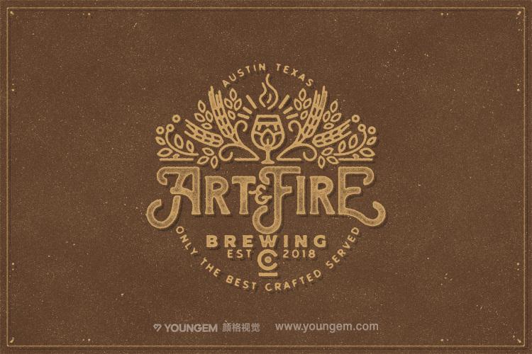 连字复古品牌logo设计艺术英文字体设计模板
